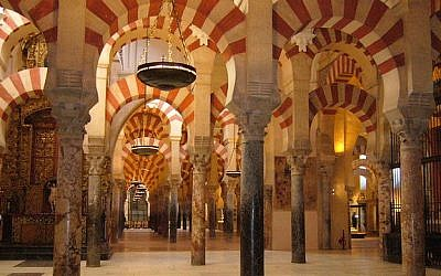 Interior of La Mezquita, the Mosque-Cathedral of Cordoba, Spain (photo credit: eliahh/Wikimedia Commons)