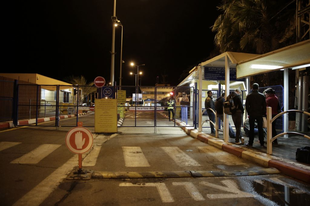 Foreigners Wait To Cross To Egypt At The Israeli Side Of The Taba Crossing Near The