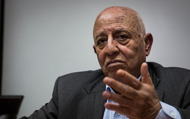 PLO official Ahmed Qurei speaks to journalists at his office in Abu Dis, east of Jerusalem, February 19, 2014 (photo credit: courtesy/Steffen Jensen)
