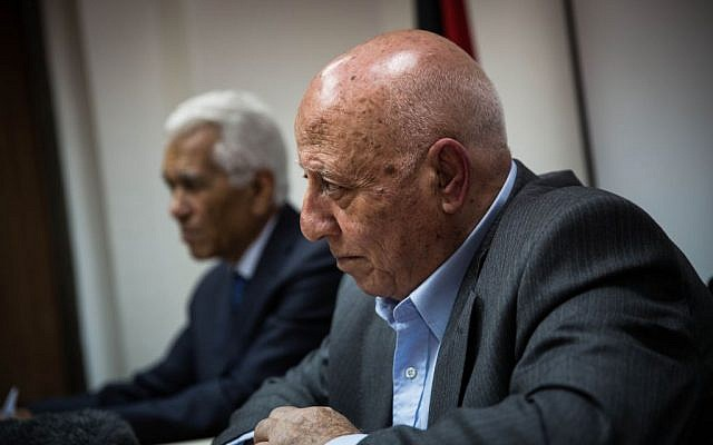 PLO official Ahmad Qurei at his office in Abu-Dis, February 19, 2014 (photo credit: courtesy/Steffen Jensen)