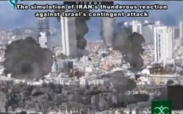 Iranian TV aired a program showing computerized shots of Tel Aviv being bombed by Iran in retaliation for an American or Israeli strike on Iran. (screen capture: YouTube)