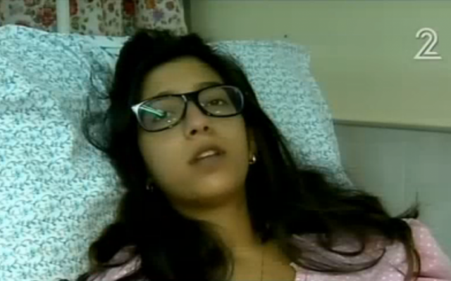 Mor Gelfand, 24, who was hit in the chest by a stray bullet on Valentine's Day. (screen capture: Channel 2)