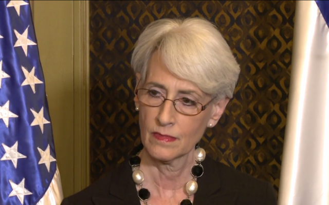 US Undersecretary of State Wendy Sherman speaks to the press in Jerusalem on February 22, 2014. (screen capture: YouTube)