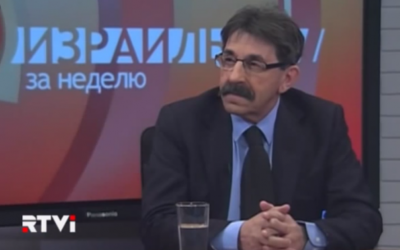 Ambassador Yosef Shagal in an interview with Russian language TV station RTVi, February 10, 2014 (photo credit: YouTube screenshot)