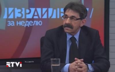 Ambassador Yosef Shagal in an interview with Russian language TV station RTVi, February 10, 2014 (photo credit: YouTube screenshot)