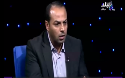 Former Hamas spokesman Ayman Taha during a television interview, November 2012 (photo credit: YouTube image grab)