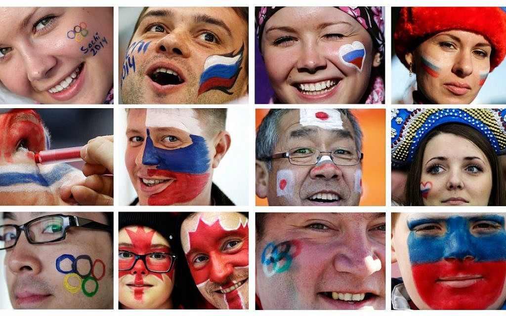 In this combination of photos taken between Feb. 9 and Feb. 13, 2014, spectators at the 2014 Winter Olympics in Sochi, Russia, show their national pride with face paint. (photo credit: AP Photo)