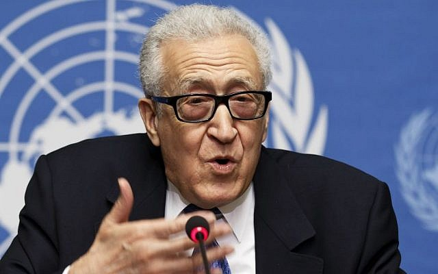 UN-Arab League envoy for Syria Lakhdar Brahimi speaks during a news conference after closing the second round of negotiation between the Syrian government and the opposition at the European headquarters of the United Nations, in Geneva, Switzerland, Saturday, February 15, 2014 (photo credit: AP/Keystone, Salvatore Di Nolfi)