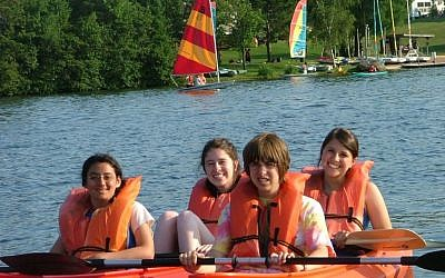 Illustrative photo of children with disabilities and their peers kayaking at the Conservative movement's Camp Ramah Wisconsin. (Courtesy National Ramah Commission/JTA)