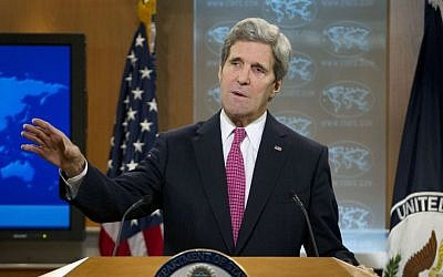 John Kerry speaking to the press Thursday, February 27, 2014. (photo credit: AP/Jose Luis Magana)