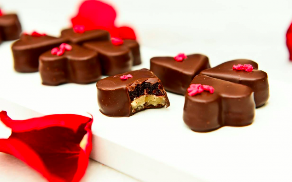 Tri-level truffles in heart shapes at the Chocolate Festival, opening Thursday at the Tel Aviv Train Station complex (Courtesy Chocolate Festival)