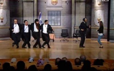 Leaders of Mossad dance to 'Hava Nagila' in Egyptian play 'The Spy' (photo credit: YouTube screen capture)