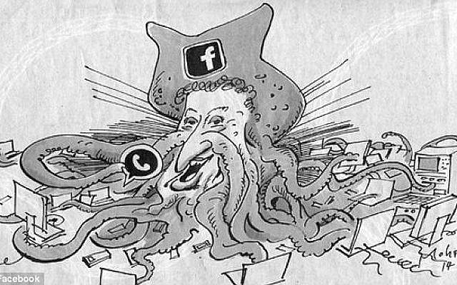 Cartoon of Mark Zuckerberg as Facebook octopus in Süddeutsche Zeitung