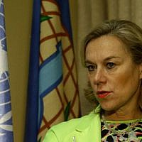 Sigrid Kaag, then head of the joint Organisation for the Prohibition of Chemical Weapons (OPCW)-United Nations mission for the destruction of Syria's chemical weapons,  in Damascus on February 11, 2014 . (AFP Louai Beshara)