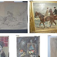 Illustrative: A combination of photos released by prosecutors in Augsburg, Germany on November 12, 2013 show five of the more than 1,500 paintings believed looted by the Nazis, seized from a Munich flat of Cornelius Gurlitt. (Lostart.de/Augsburg prosecutors/ AFP/File)