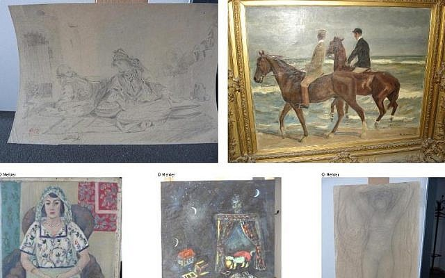 Illustrative: A combination of photos released by prosecutors in Augsburg, Germany on November 12, 2013 show five of the more than 1,500 paintings believed looted by the Nazis, seized from a Munich flat of Cornelius Gurlitt. (Lostart.de/Augsburg prosecutors/AFP/File)
