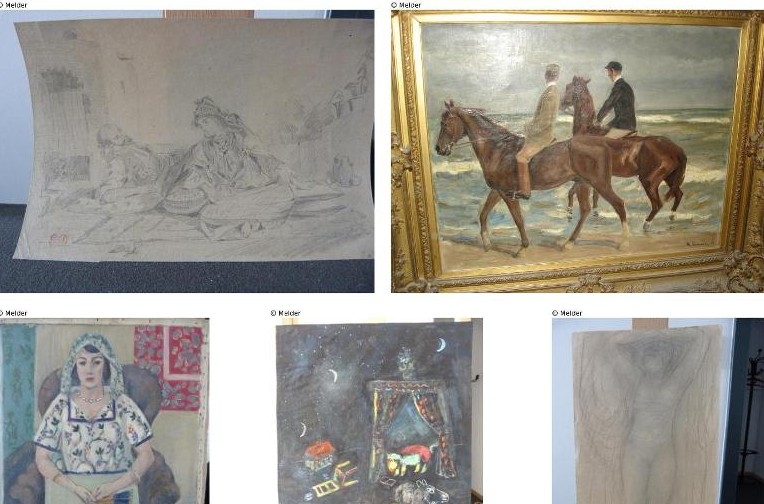 A combination of photos released by prosecutors in Augsburg, Germany on November 12, 2013 show five of the 1,400 paintings believed looted by the Nazis, seized from a Munich flat of Cornelius Gurlitt.  (photo credit: Lostart.de/Augsburg prosecutors/AFP/File)