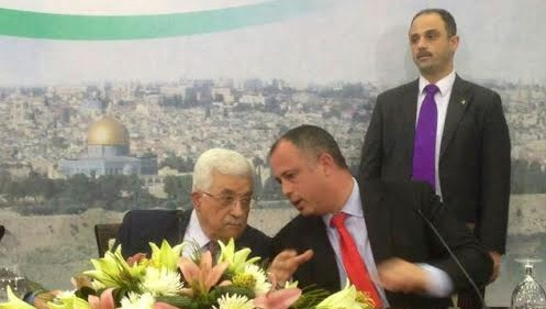 Mahmoud Abbas with Labor MK Hilik Bar, February 16, 2014 (photo credit: courtesy)