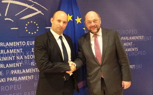 Economy Minister Naftali Bennett and President of the European Parliament Martin Schulz meeting in Brussels, February 19, 2014. (photo credit: Courtesy Naftali Bennett's office)