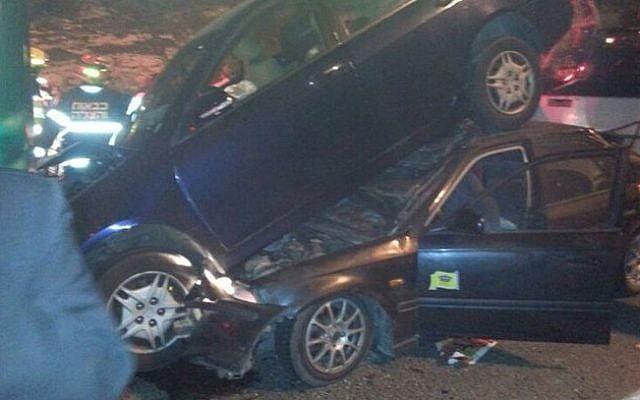 Image of a multiple vehicle accident along Route 1, on February 10, 2014. (photo credit: courtesy United Hatzalah)