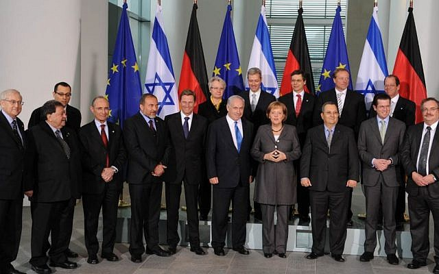The German and Israeli cabinet at the Chancellery in Berlin,  January 18, 2010.(photo credit: Moshe Milner/GPO/Flash90)