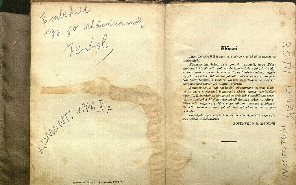 The handwritten facts appearing on the opening spread of a Hungarian-Jewish cookbook, and the recipe written at the back, intrigue Tara Lotstein, a Washington, D.C.-area resident. (Courtesy Tara Lotstein/JTA)