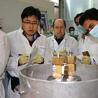 Illustrative: IAEA inspectors at Iran's nuclear power plant in Natanz on January 20, 2014. (IRNA/AFP Kazem Ghane)