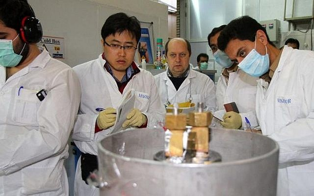 IAEA inspectors at Iran's nuclear power plant in Natanz on January 20, 2014. (IRNA/AFP Kazem Ghane)