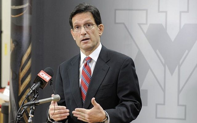 Eric Cantor, the former House majority leader, delivers an address titled 'An America That Leads' at the Virginia Military Institute, on February 17, 2014. (photo credit: Courtesy of House Majority Leader/JTA)