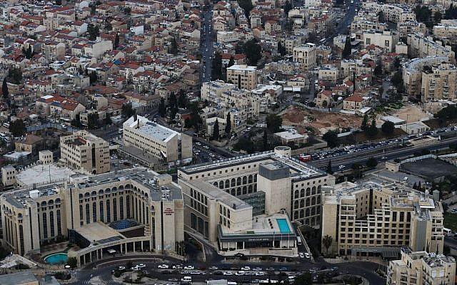 Aerial view of the Sheikh Jarrah neighborhood in East Jerusalem, March 1, 2013 (Nati Shohat/Flash90)