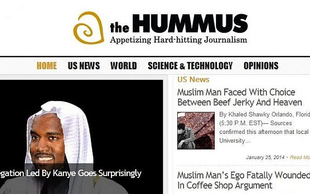 The homepage of The Hummus satirical website. (photo credit: screen capture)