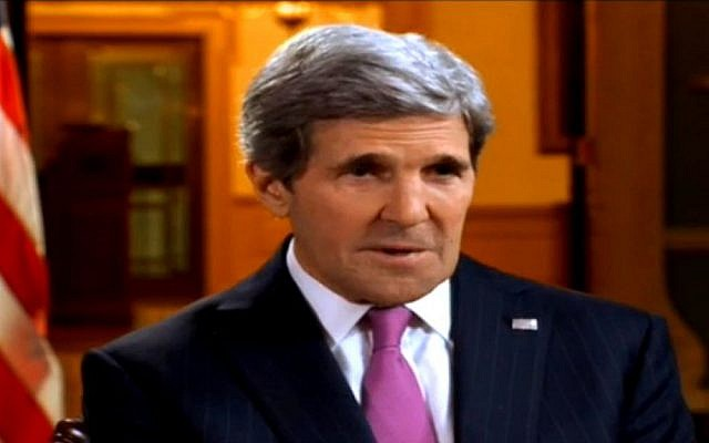 US Secretary of State John Kerry speaks to an Israeli reporter in an interview aired Thursday, February 20, 2014 (screen capture: Channel 2)