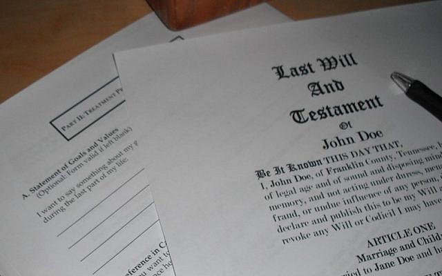 Illustrative photo of a sample last will and testament. (photo credit: CC BY Ken Mayer/Flickr)