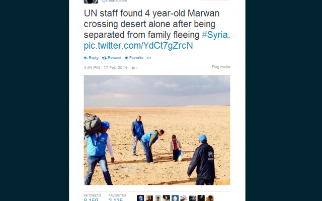 Image of Marwan and UNHCR aid workers. (photo credit: screen capture/Hala Gorani/Twitter)