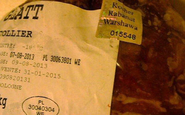 Kosher meat slaughtered in Poland last year after a court effectively banned the practice. (JTA)