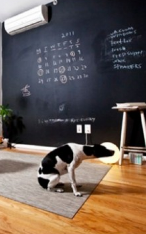 Chalkboard in the living room, and it's just a sticker (Courtesy Megaboard)