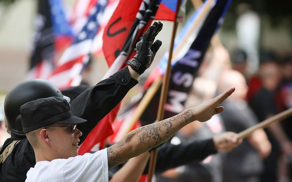 Members of the National Socialist Movement rally near Los Angeles City Hall on April 17, 2010. (David McNew/Getty Images/JTA)
