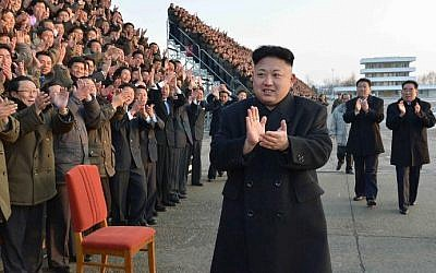 Undated photo released by North Korea's official Korean Central News Agency (KCNA) on February 11, 2014 shows Kim Jong-Un (C) during the national conference of subworkteam leaders in the agricultural sector in an undisclosed location in North Korea (KCNA via KNS/AFP/File)