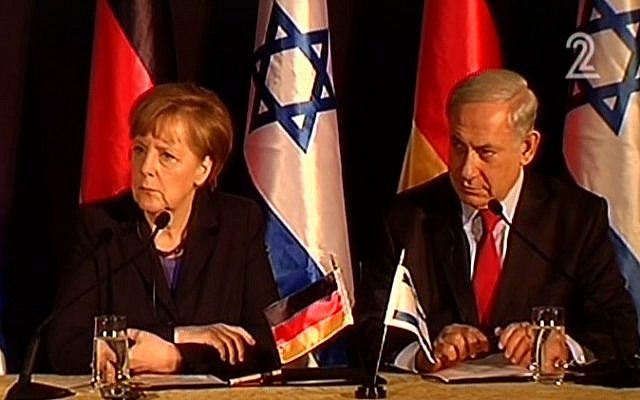 Angela Merkel, left, and Benjamin Netanyahu at a press conference in Jerusalem in February 2014. (screen capture: Channel 2)