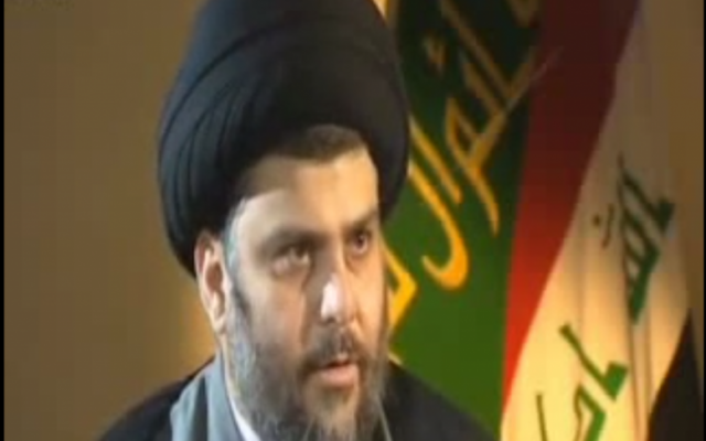 Muqtada al-Sadr in a BBC interview (photo credit: Youtube image capture)