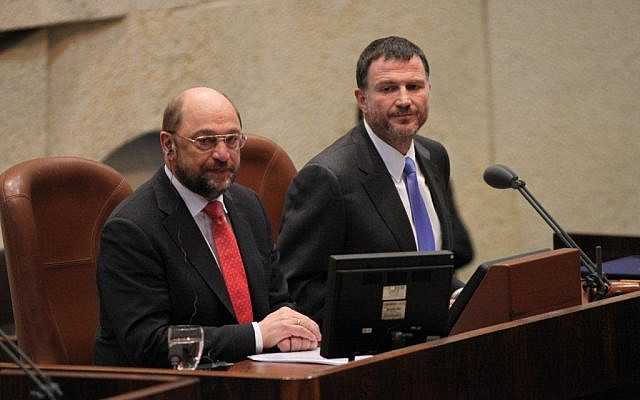 EU Parliament President Martin Schulz in the Knesset, Wednesday, February 12, 2014. (photo credit: Knesset Spokesperson's Office)