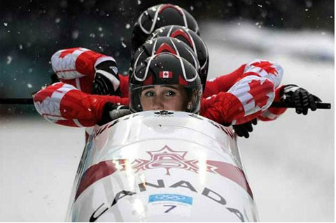 'Girls' character Shoshanna Shapiro with the Canadian bobsled team (courtesy Shoshi Games 2014)