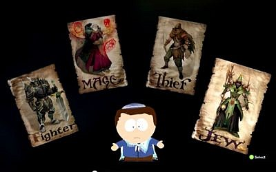 """Image from computer RPG game 'South Park: The Stick of Destiny,' where one of the character classes is """"Jew."""" (photo credit: screen capture YouTube)"""