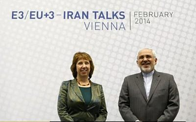 EU foreign policy chief Catherine Ashton and Iranian Foreign Minister Mohammad Javad Zarif before the round of talks in Vienna February 18, 2014. (Screen capture)
