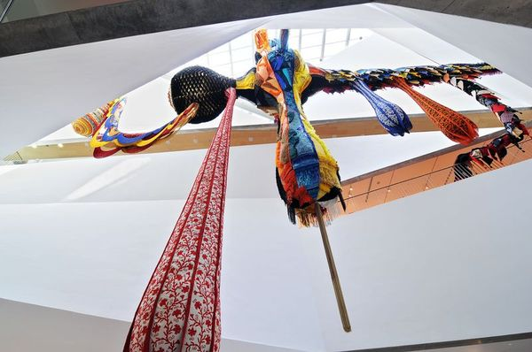 The multi-textured features and fabrics of 'Lusitana 2013' at the Tel Aviv Museum of Art (Courtesy Tel Aviv Museum of Art)