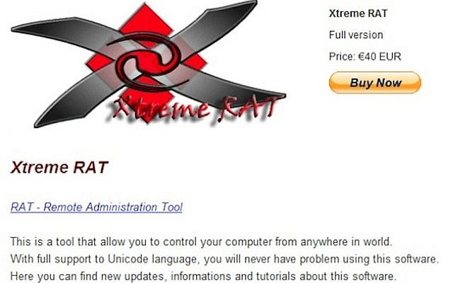 Screenshot of an online sales site where hackers can buy Xtreme RAT (Photo credit: Courtesy Seculert)