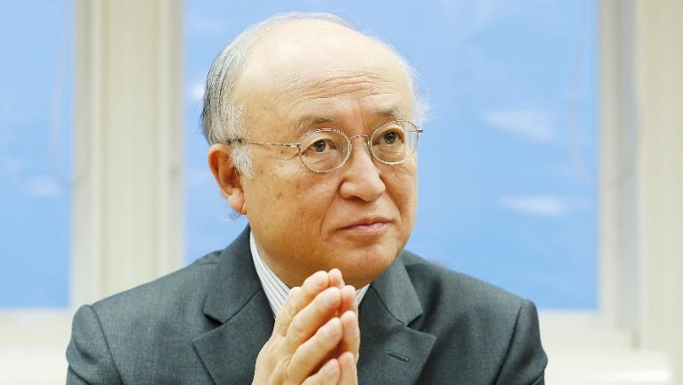 International Atomic Energy Agency chief Yukiya Amano answers questions at the IAEA headquaters in Vienna, on January 30, 2014 (photo credit: AFP/File Dieter Nagl)