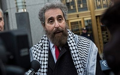 Stanley L. Cohen, a lawyer representing Osama Bin Laden's son-in-law, Sulaiman Abu Ghaith, speaks to reporters outside federal court in New York City on March 24, 2014 (photo credit: Andrew Burton/Getty Images/AFP)