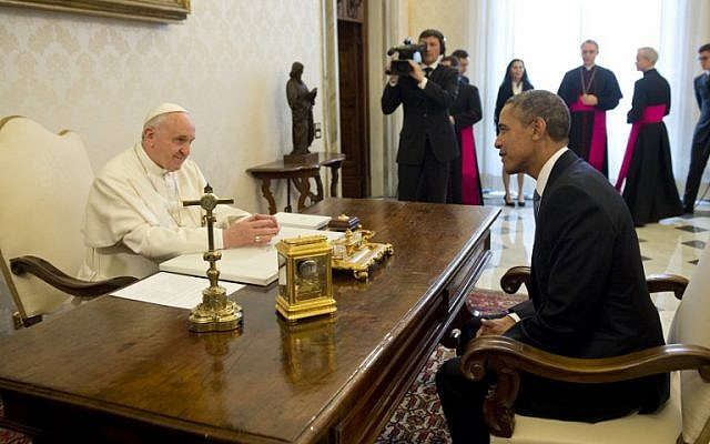 Pope Francis (L) meets with US President Barack Obama on March 27, 2014 at the Vatican.  (photo credit: AFP/SAUL LOEB)