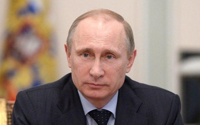 Russian President Vladimir Putin in Moscow, March 28, 2014 (Photo credit: Alexei Nikolsky/RIA Novosti pool/AFP)